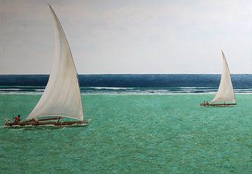 Grüner und blauer Ozean Sansibar von Russell Hinckley