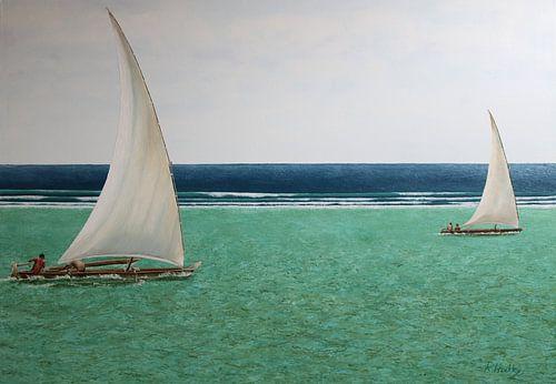 Groen en blauw oceaan Zanzibar