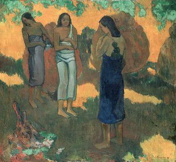 Drei tahitianische Frauen vor gelbem Hintergrund, Paul Gauguin