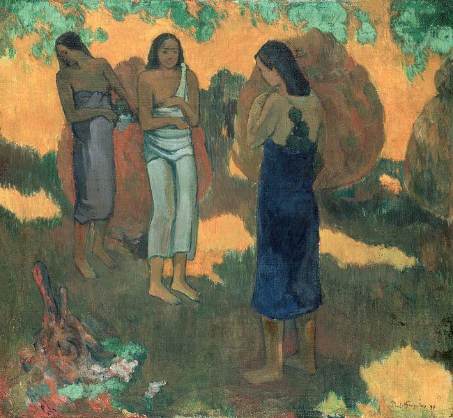 Drei tahitianische Frauen vor gelbem Hintergrund, Paul Gauguin von The Masters
