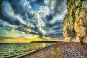 Rotsachtige kust met dreigende lucht en opkomend onweer