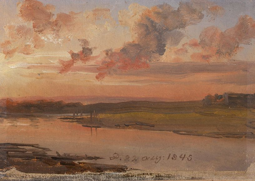 Die Elbe am Abend, Johan Christian Dahl von Meesterlijcke Meesters