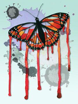 Vlinder met drippings van Bianca Wisseloo