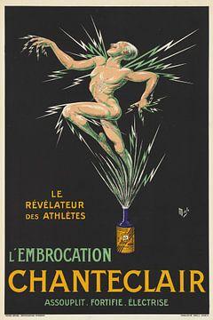 Naakte atleet die gelektroficeerd wordt, een scrub geneesmiddel op een reclameposter van Atelier Liesjes