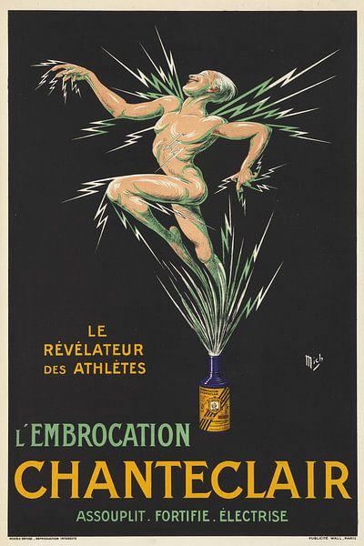 Nackter Sportler ausgelaufen, ein Peeling-Medikament auf einem Werbeplakat. von Atelier Liesjes