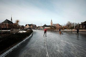 Nieuwkoopse Plassen en hiver avec de la glace sur Arie Bon