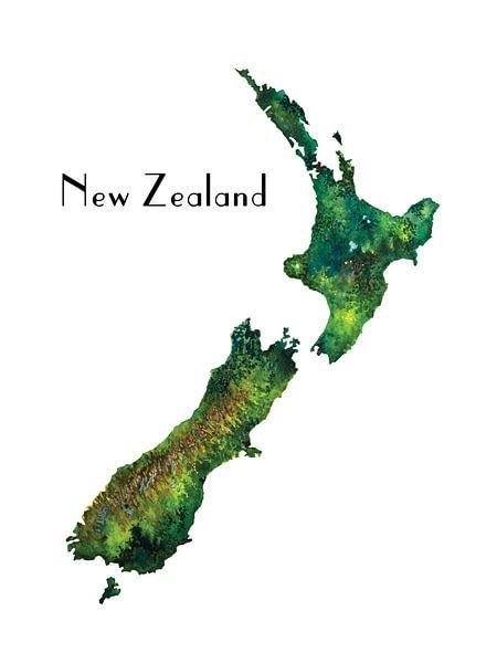 Nieuw Zeeland - Landkaart in Aquarel - Retro van - Wereldkaarten.shop -