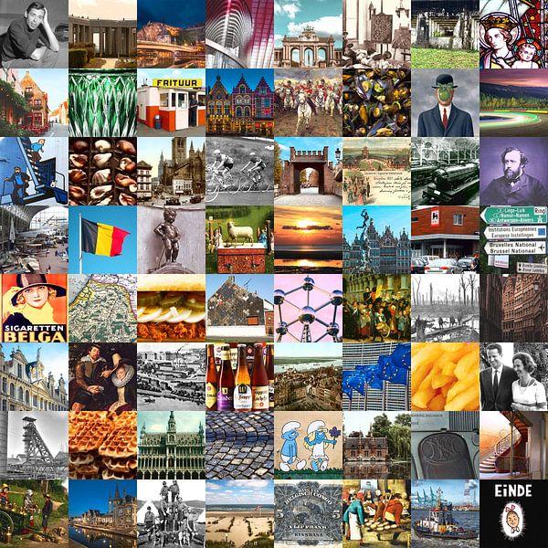 La Belgique typique - collage d'images du pays et de l'histoire sur Roger VDB