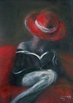 Rode hoed . van