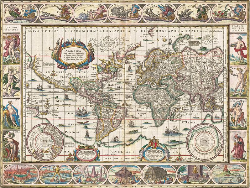 Weltkarte mit dekorativen Rändern, Jan Aertse van den Ende von Meesterlijcke Meesters