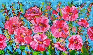 Kleurrijke roze bloemen van Vrolijk Schilderij
