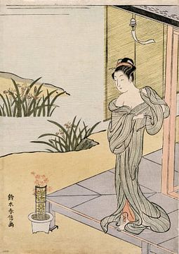Suzuki Harunobu.Junge Frau, die einen Topf betrachtet
