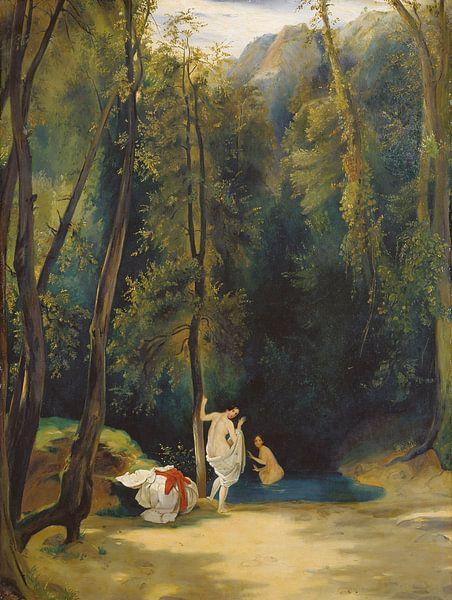 Woman Bathing in the Park of Terni, Carl Blechen von Meesterlijcke Meesters