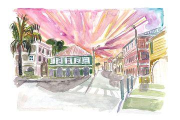 Christiansted St Croix koloniale Straße Szene US Virgin Islands von Markus Bleichner
