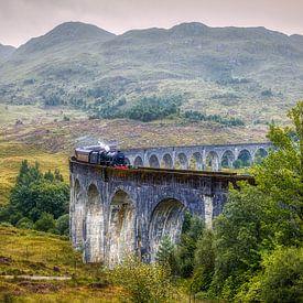 Jacobite (Harry Potter) trein in Glenfinnan, Schotland van Mart Houtman