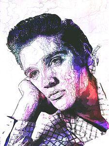 Elvis Presley Abstrakte Strichzeichnung Portrait in Lila Rot