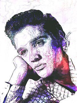 Elvis Presley Abstrakte Strichzeichnung Portrait in Lila Rot von Art By Dominic