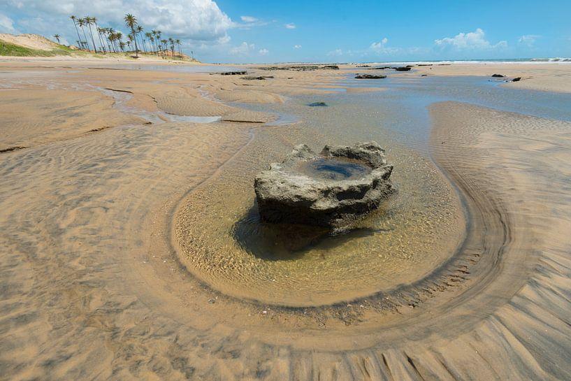 Strand met steen van Leon Doorn