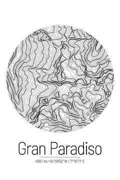 Grand Paradis | Topographie de la carte (minimum) sur City Maps