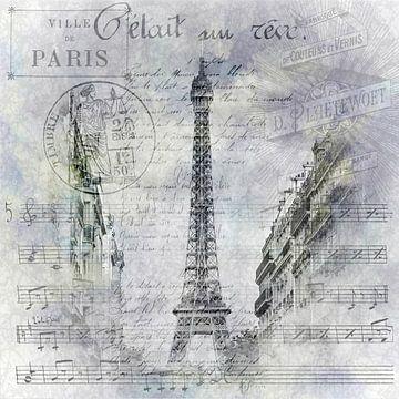 Paris Collage | Scène de rue de la Tour Eiffel sur Melanie Viola