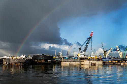 Regenboog over de Waalhaven.