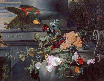 Stilleben mit Papagei, Maria Theresia van Thielen (1661)
