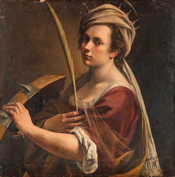 Selbstbildnis als Heilige Katharina von Alexandria, Artemisia Gentileschi von Meesterlijcke Meesters