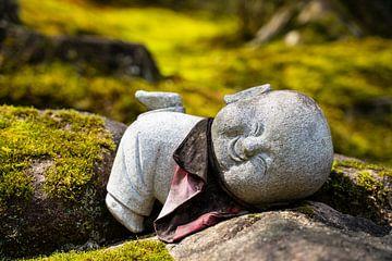 Liggende Buddha tussen de stenen. van Mickéle Godderis