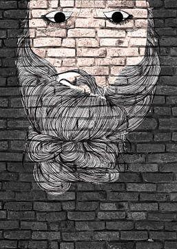 Junge Frau auf dem Kopf Graffiti auf schwarzer Mauer von KalliDesignShop
