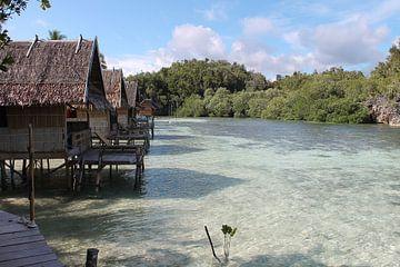 Überwasser-Bungalows in der Beser-Bucht, Raja Ampat von Lizette Schuurman