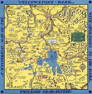 'Hysterische' kaart van het Yellowstone Park
