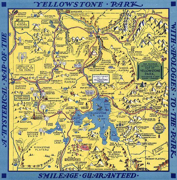 'Hysterische' kaart van het Yellowstone Park van World Maps