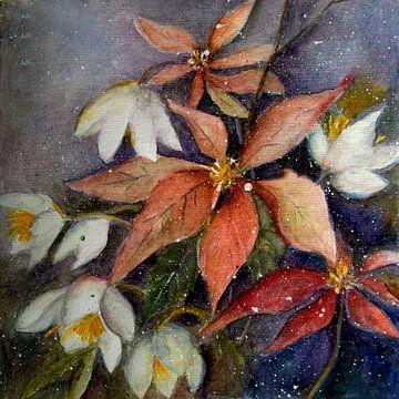 Kerstster met kerstroos van Christine Nöhmeier