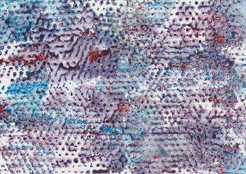 Aquarell Malerei mit Foliendruck in Dunkelblau, Blau, Rot, Lila von Heike Rau