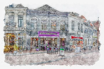"Restaurant ""Dakota'z"" in Roosendaal (aquarel) van Art by Jeronimo"