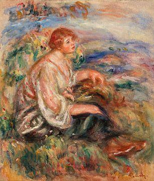 Renoir, Frau in Tüllbluse und schwarzem Rock in einer Landschaft (1917)