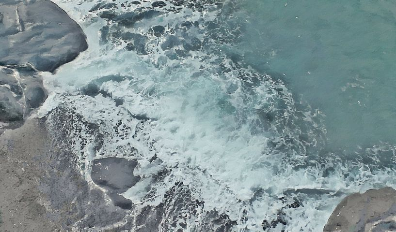 Strand mit Felsen und schäumender Welle - Gemälde von Schildersatelier van der Ven
