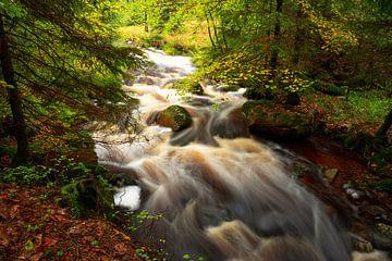 Romantische Bode Falls in de herfst van Oliver Henze