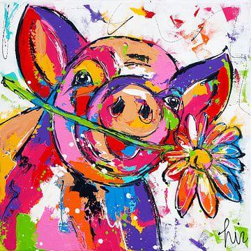 Schwein mit Blume von Vrolijk Schilderij