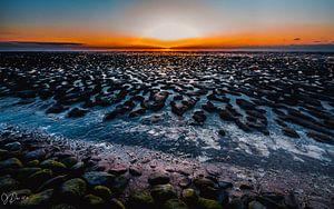 zonsondergang op het wad 4 van Jan Peter Nagel