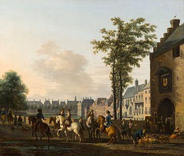 Eine Jagdgesellschaft in der Nähe des Hofvijver in Den Haag, von den Plaats aus gesehen, Gerrit Adri