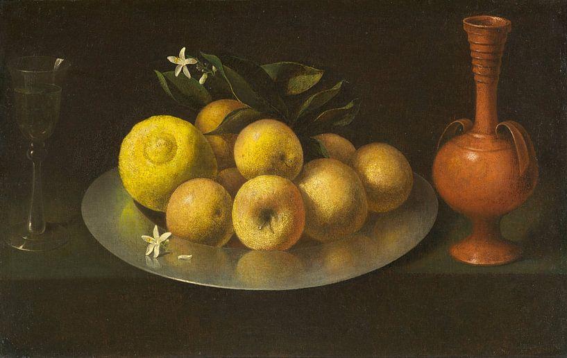 Stillleben mit Glas, Obst und Glas, Francisco de Zurbarán von Meesterlijcke Meesters