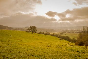 Zonsondergang op het platteland in Luxemburg van Janet Kleene