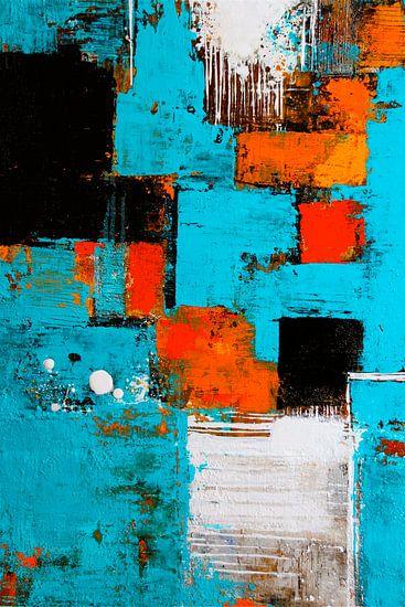 Komposition in Türkis mit Orange van Claudia Neubauer