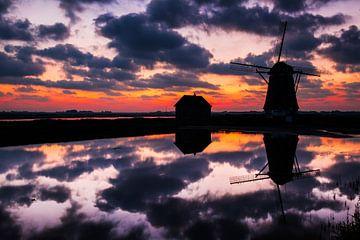 Altniederländische Windmühle 'Het Noorden' auf Texel von Beschermingswerk voor aan uw muur