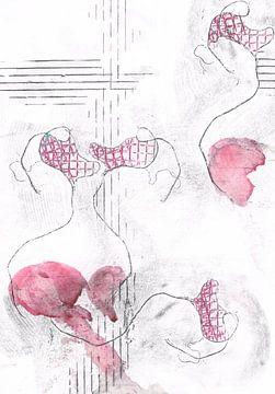 Abstract; lijnenspel van vorm en textuur van Ineke van Engelen