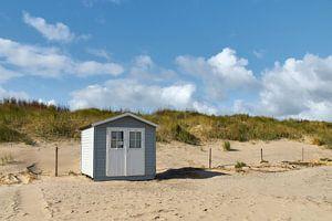 Strandcabine tegen de duinen van Ad Jekel