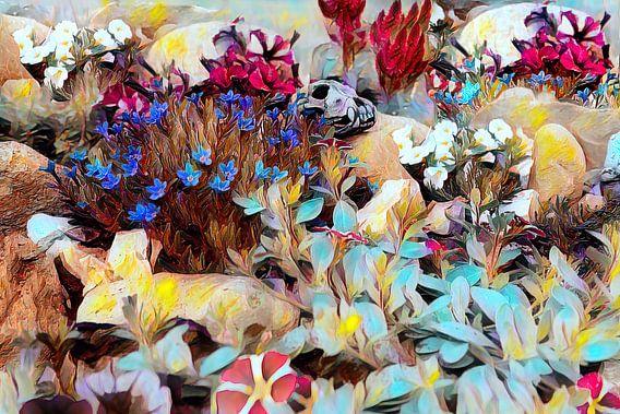 Steingarten mit bunten Blumen und einem Schädel