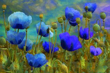 blue poppies van Marion Tenbergen