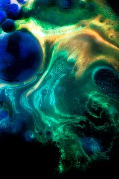 Bleu et vert abstraits sur Jeannine Van den Boer